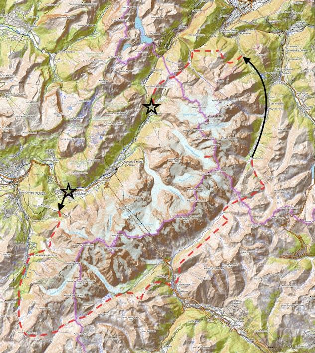 Tour du Mont Blanc 7 jours - carte de l'itinéraire